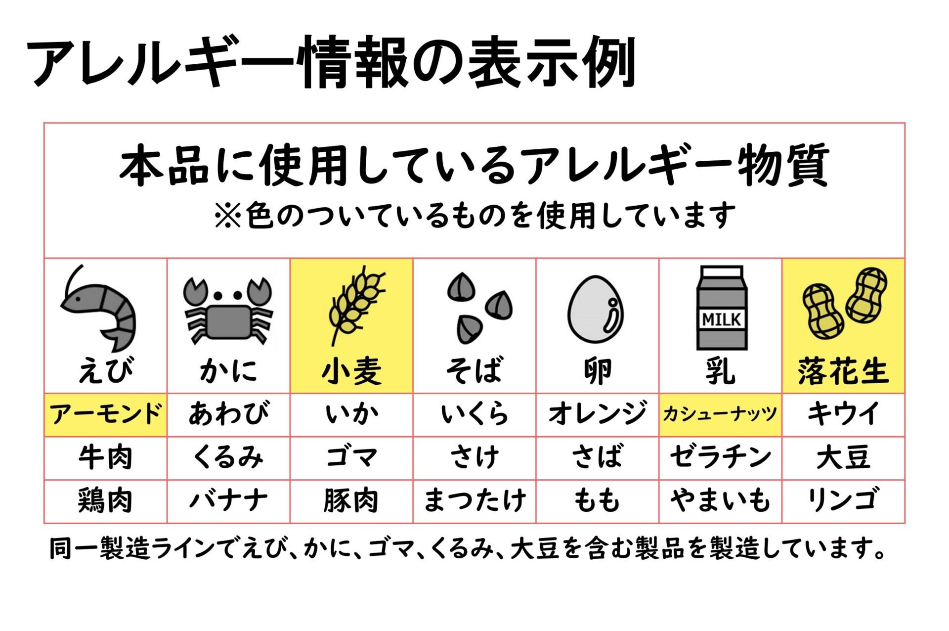 アレルギー表示の印字例